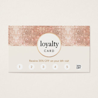 Rose Gold Sequin Salon 6 Punch Customer Loyalty Business Card