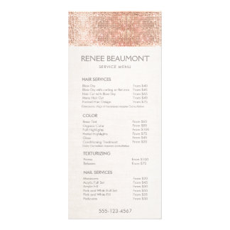 Rose Gold Sequins Salon Price List Menu