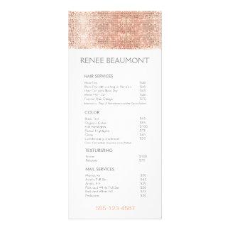 Rose Gold Sequins Salon Price List Menu