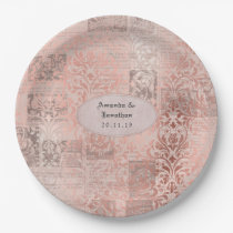 Rose Gold Shabby-Chic Damask Wedding Paper Plate