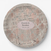 Rose Gold Shabby-Chic Newspaper Wedding Paper Plate