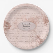 Rose Gold Shabby-Chic Vintage Calligraphy Wedding Paper Plate