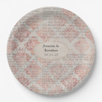 Rose Gold Shabby-Chic Wedding Paper Plate