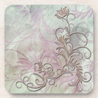 Rose Gold Shaded Floral Corkback Coaster Sets