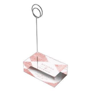 Rose Gold Shimmer Metallic Foil Wedding Monogram Place Card Holder