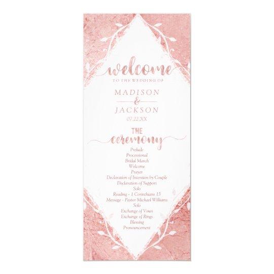 Rose Gold Shimmer Metallic Foil Wedding Program