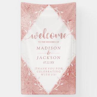 Rose Gold Shimmer Metallic Foil Wedding Welcome Banner