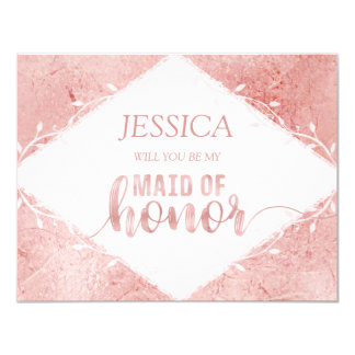 Rose Gold Shimmer Will You Be My Maid of Honor Card