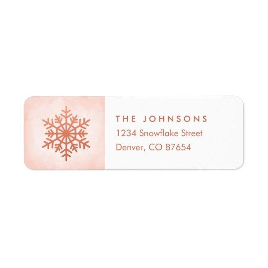 Rose Gold Snowflake Return Address Label