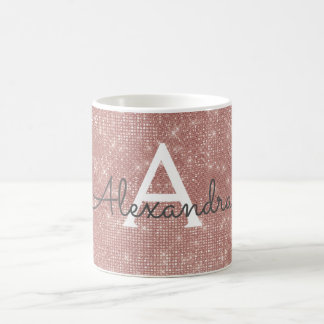 Rose Gold Sparkle Bling Monogram Name & Initial Coffee Mug