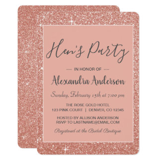 Rose Gold Sparkle Glitter Hen's Party Card