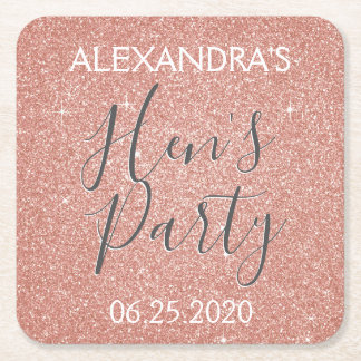 Rose Gold Sparkle Glitter Hen's Party Square Paper Coaster