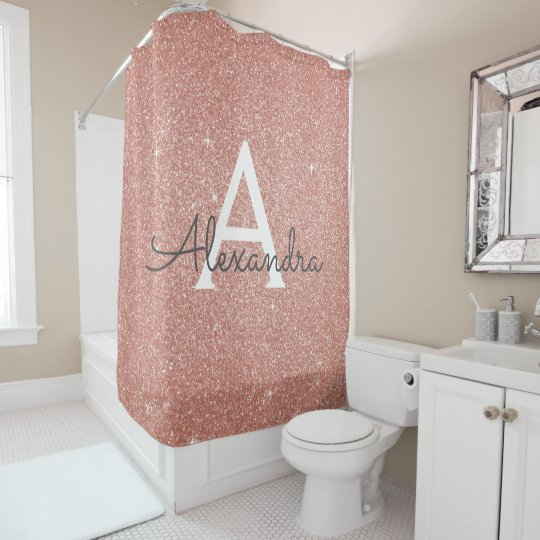 Wondrous Rose Gold Sparkle Glitter Monogram Name Bathroom Shower Curtain Gmtry Best Dining Table And Chair Ideas Images Gmtryco