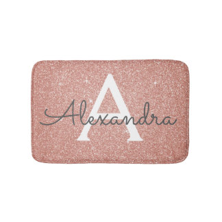 Rose Gold Sparkle Glitter Monogram Name & Initial Bath Mat
