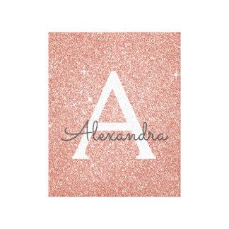 Rose Gold Sparkle Glitter Monogram Name & Initial Canvas Print