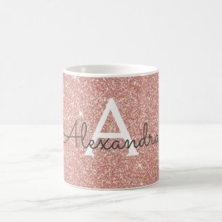 Rose Gold Sparkle Glitter Monogram Name & Initial Coffee Mug