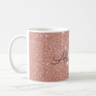 Rose Gold Sparkle Glitter Monogram Name & Initial Mug