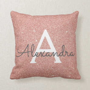 Rose Gold Sparkle Glitter Monogram Name & Initial Cushion