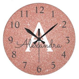 Sparkle Glitter Monogram Clock