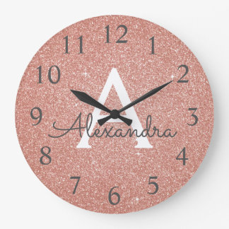 Rose Gold Sparkle Glitter Monogram Name & Initial Large Clock
