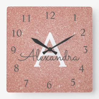 Rose Gold Sparkle Glitter Monogram Name & Initial Square Wall Clock