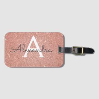 Rose Gold Sparkle Glitter Monogram Name Luggage Tag