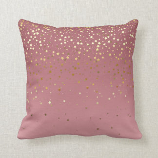 Rose Gold Stars And Marsala Gradient Cushion