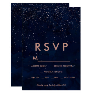Rose gold stars navy blue watercolor RSVP wedding Card