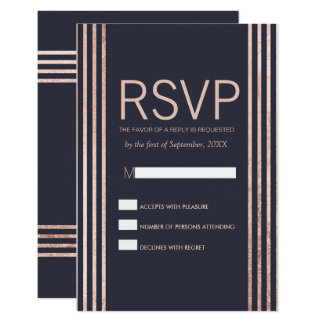 Rose Gold Stripes and Navy Blue RSVP Cards