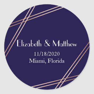 Rose Gold Stripes Wedding Personalized Sticker
