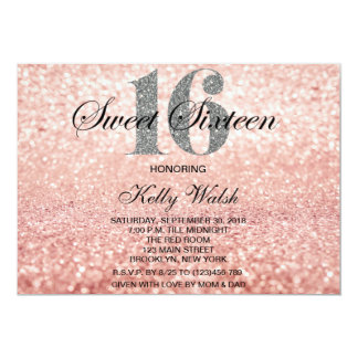 Rose Gold Sweet 16 Silver Glitter  Invitation