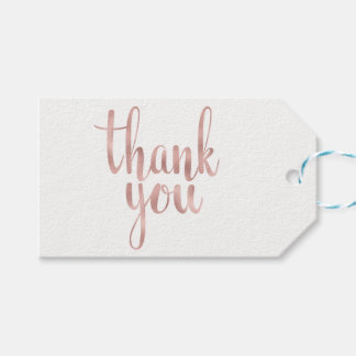 Rose gold thank you favor tags, foil, horizontal