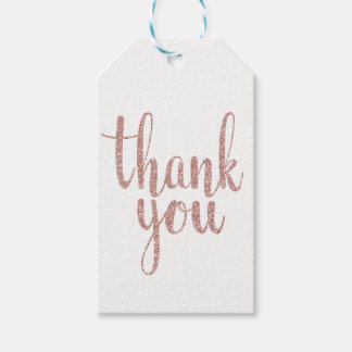 Rose gold thank you favour tags, glitter, vertical
