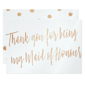 "Rose Gold ""Thank you for being my maid of honour"" Card"