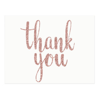 Rose gold thank you postcards, glitter postcard