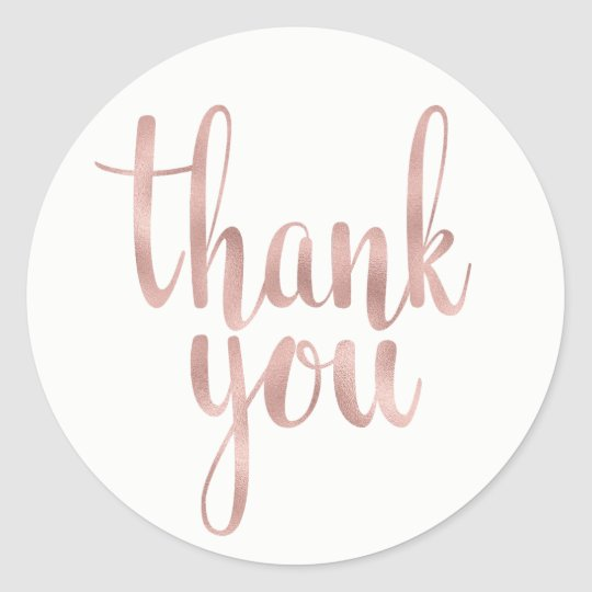 Rose gold thank you stickers, foil, round classic