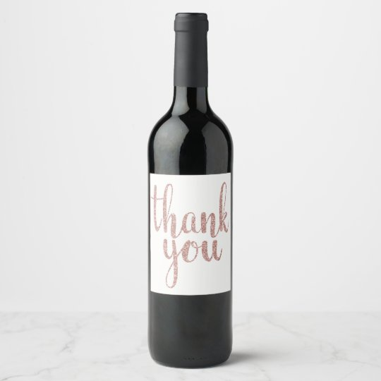 Rose gold thank you wine label, glitter wine label