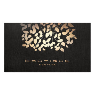 Rose Gold Tree Leaves Black Pack Of Standard Business Cards