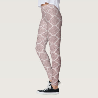 Rose Gold Trendy   Quatrefoil Pattern Moroccan Leggings