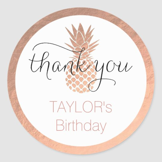 rose gold tropical birthday party thank you classic