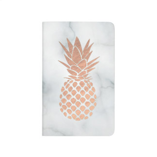 rose gold tropical pineapple on marble journal
