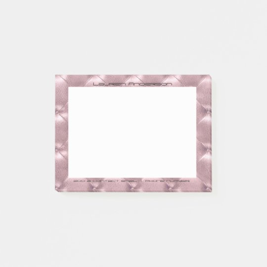 Rose Gold Tufted Office Custom Personalized Luxury Post-it