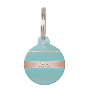 4a2684b2023d Rose Gold Turquoise Stripes Personalize Pet ID Tag