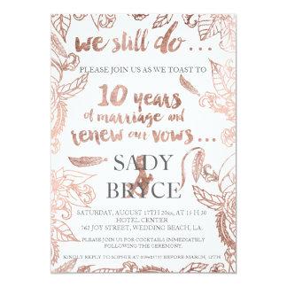 Rose gold typography boho floral vow renewal 3 card