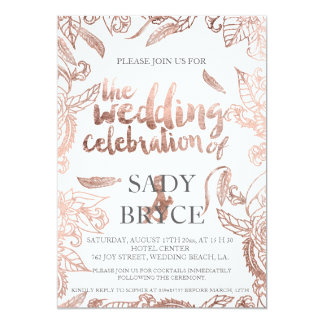 Rose gold typography boho floral wedding party 13 cm x 18 cm invitation card