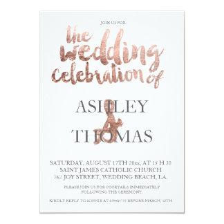 Rose gold typography elegant wedding faux foil 13 cm x 18 cm invitation card
