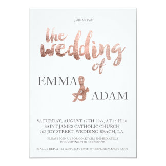 Rose gold typography elegant wedding faux foil 6 card