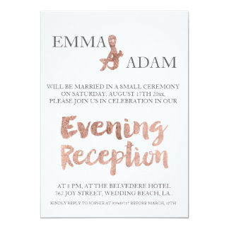 Rose gold typography evening wedding faux foil 13 cm x 18 cm invitation card