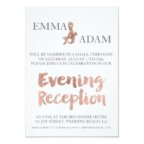 Rose gold typography evening wedding faux foil invitation