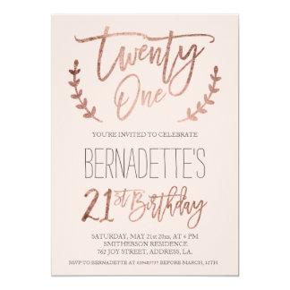 Rose gold typography feathers blush 21st Birthday 13 Cm X 18 Cm Invitation Card